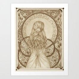 Art Nouveau Girl (Sepia) Art Print