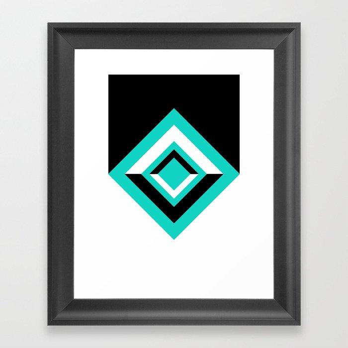 Teal Black and White Diamond Shapes Digital Illustration - Artwork Framed Art Print