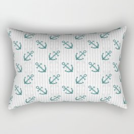 Teal Anchor Pattern Rectangular Pillow