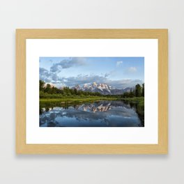 Light Touching the Grand Tetons Framed Art Print