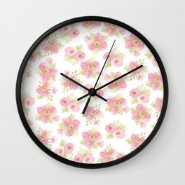 Hand painted blush pink pastel watercolor floral Wall Clock