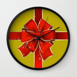 Red Bow on Gold Wall Clock