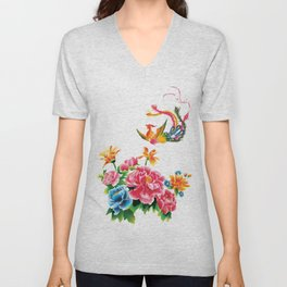 chinese peonies and phoenix Unisex V-Neck