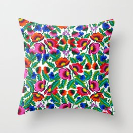 Grandmommy Flowering Bouquet - Poppy Centaurea Violet - Green Leaves Blossom Satin Stitch Embroidery Throw Pillow