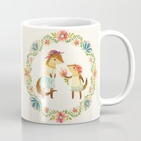 otters Mugs featuring Otterly Grateful by Teagan White