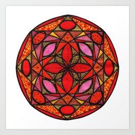 Red mandala of love Art Print