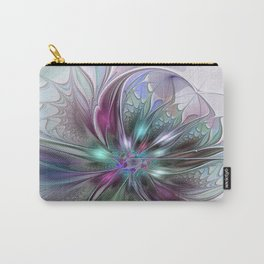 Colorful Fantasy Abstract Modern Fractal Flower Carry-All Pouch