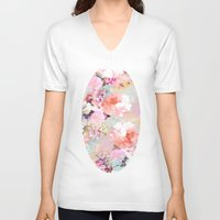 peonies V-neck T-shirts featuring Love of a Flower by Girly Trend
