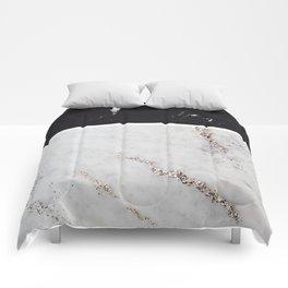 Black Marble & White Glitter Marble #1 #decor #art #society6 Comforters