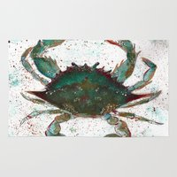 crab Area & Throw Rugs featuring Crab by LEIGH ANNE BRADER