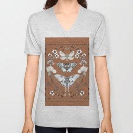 Three Moths Burnt Orange Unisex V-Neck