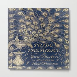 Pride and Prejudice, Peacock; Vintage Book Cover Metal Print