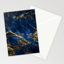 Exquisite Blue Marble With Luxury Gold Veins Stationery Cards