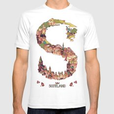 S is for Scotland MEDIUM White Mens Fitted Tee