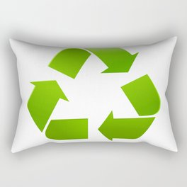 Green Recycle symbol on white background Rectangular Pillow