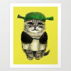 Shreky Cat Art Print