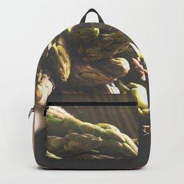 Fresch Asparagus on the table Backpack