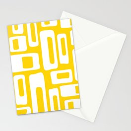 Retro Mid Century Modern Abstract Pattern 335 Yellow Stationery Cards