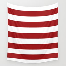 Spartan Crimson - solid color - white stripes pattern Wall Tapestry