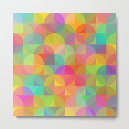 Vibrant Rainbow Plaid and Circle Pattern Metal Print