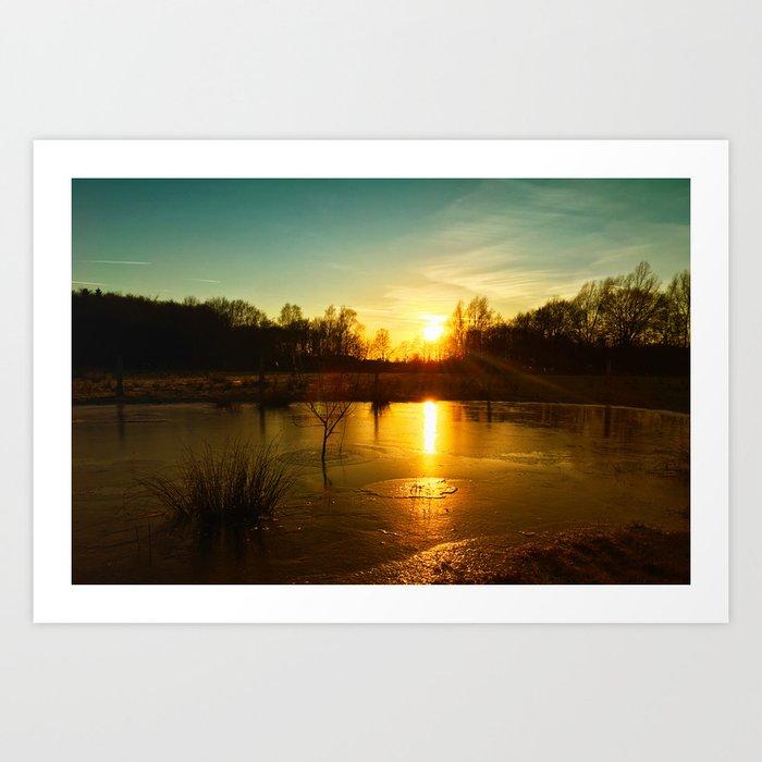Winterlandscape with sunset Art Print