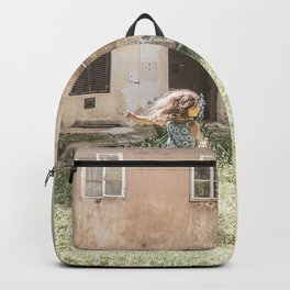 Playful in Nature | Happy Wild Skipping Child Vintage Outdoor Field Rustic Charming Country Farm Backpack