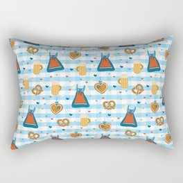 Oktoberfest print. Dirndl dress, beer glasses, pretzels, and gingerbread hearts on a blue and white checkered background. Rectangular Pillow
