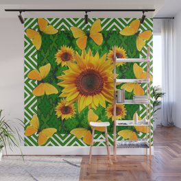 Green Yellow Butterflies Sunflowers Flowers  Art Wall Mural