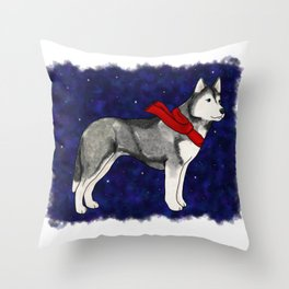 Grey Winter Husky Throw Pillow
