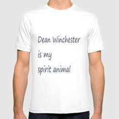 Dean Winchester Is My Spirit Animal (Supernatural inspired) MEDIUM White Mens Fitted Tee