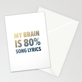 Funny Brain Song Lyrics Stationery Cards