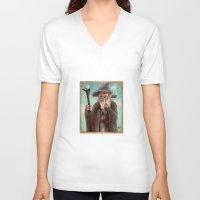 gandalf V-neck T-shirts featuring Gandalf by Casey Shaffer