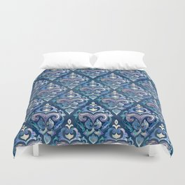 Persian Floral pattern blue and silver Duvet Cover
