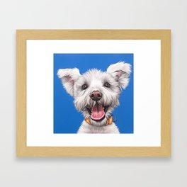Joyful White Puppy Dog, Smiling Dog Portrait, Sweet Dog Wall Art Framed Art Print
