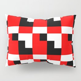 Red black step pattern Pillow Sham