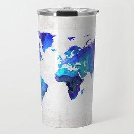 World Map 17 - Blue Art By Sharon Cummings Travel Mug