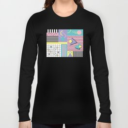 Memphis Pattern 27 - 80s - 90s Retro / 1st year anniversary design Long Sleeve T-shirt