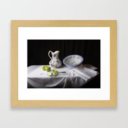 Delft blue and green apples still life Framed Art Print