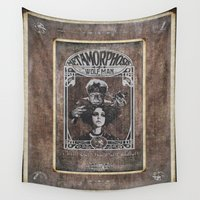 postcard Wall Tapestries featuring Metamorphosis by The Wolf Man: A Full Service Hair Salon (Aged Postcard) by ImpART by Torg