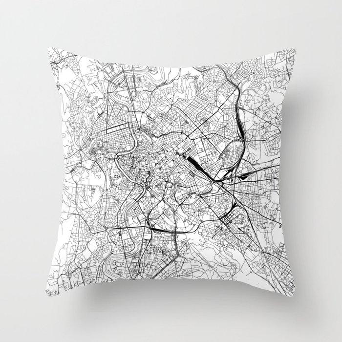 Rome White Map Throw Pillow