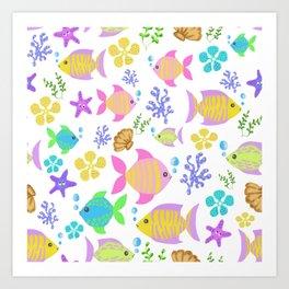 Colourful ocean fish Art Print
