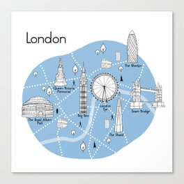 Mapping London - Blue Canvas Print