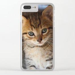 Sparkly Eyes Kitten Clear iPhone Case