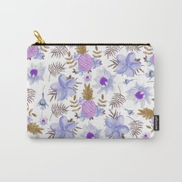 Modern  lavender brown watercolor summer fruit floral Carry-All Pouch