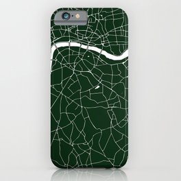 Green on White London Street Map iPhone Case