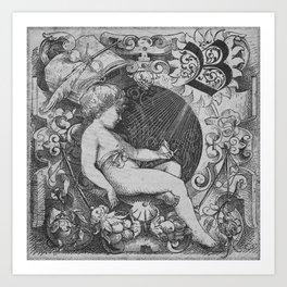 Cherub | Angels Vintage | Victorian | Sketch | Letter B Art Print