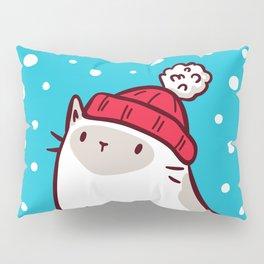 Cat Watching Snowfall Pillow Sham