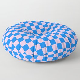 Cotton Candy Pink and Brandeis Blue Checkerboard Floor Pillow