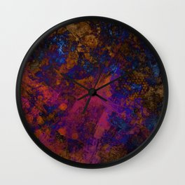 Day Dreaming - Abstract, metallic, textured, paint splatter style artwork Wall Clock