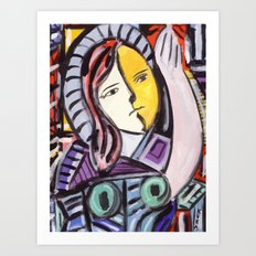 Portrait of a cubist girl Art Print
